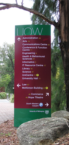 University of Wollongong Signage